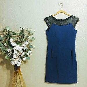 Tahari Black & Blue Sheath Dress S 2